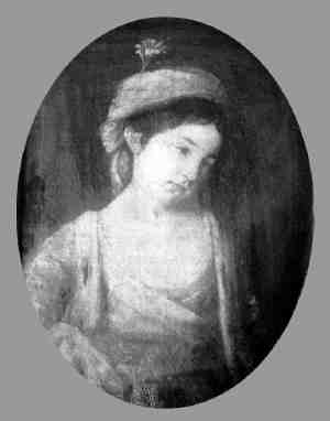 Mary  (335 KB)  bet. 1773 - 1775   A 1908 photograph of a portrait by Frances Reynolds (her aunt) painted when Mary was 14 or 16 years of age  (Click on Picture to View Full Size)